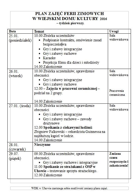 WDK UHOWO_Plan ferii zimowych 2016