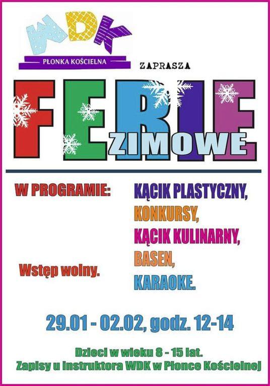 Ferie zimowe w WDK Płonce Kościelnej