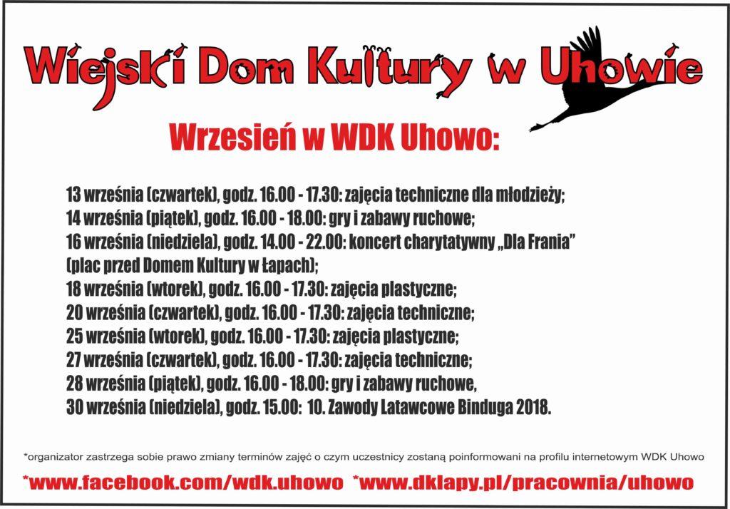 Plan na wrzesień WDK w Uhowie 2018 r.
