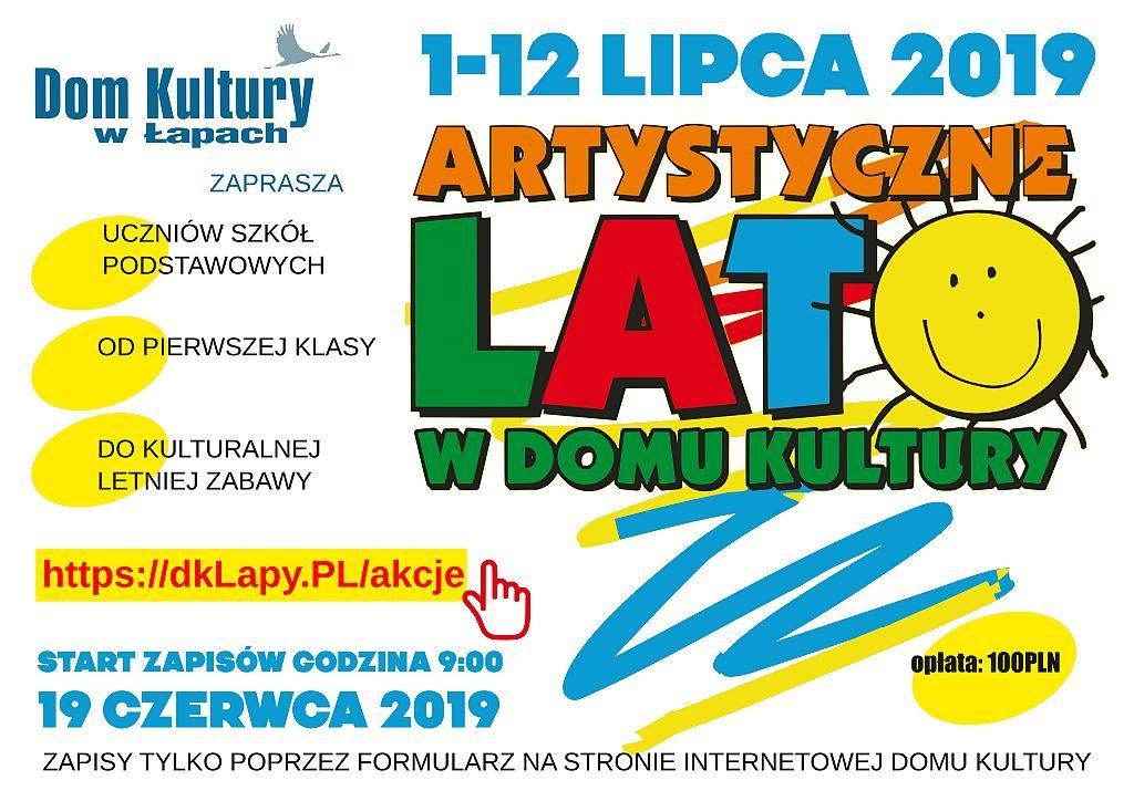 Akcja LATO 2019 w Domu Kultury 1-12  lipca 2019 r.  Zapewniamy zorganizowany wypoczynek pod okiem instruktorów Domu Kultury. Proponujemy zajęcia plastyczne, taneczne, teatralne, muzyczne, modelarskie także gry i zabawy. Zawsze ciekawe i różnorodne akcje oraz wycieczki autokarowe.