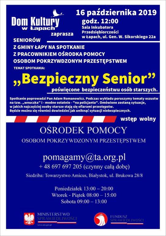 Dom Kultury zaprasza seniorów z gminy Łapy na spotkanie z pracownikiem Ośrodka Pomocy Osobom Pokrzywdzonym Przestępstwem