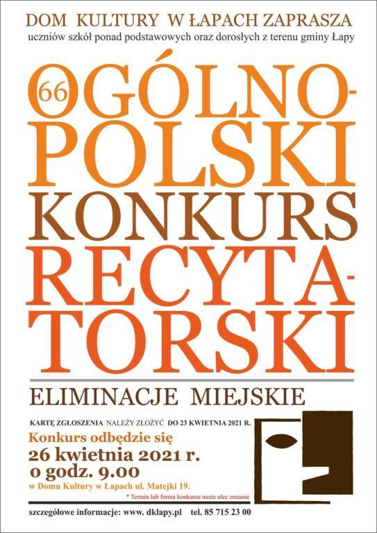 Plakat 66. Ogólnopolskiego Konkursu Recytatorskiego