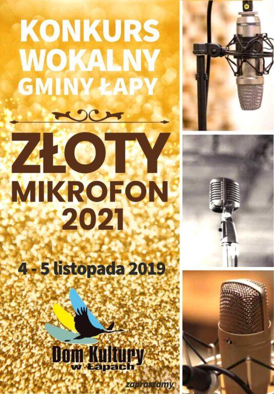 plakat konkursu wokalno-instrumentalnego złoty mikrofon